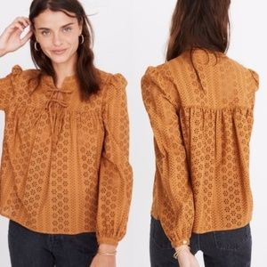 NEW Madewell // Eyelet Double-Tie Peasant Top
